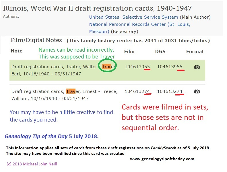 Using the US 1940-1947 Draft Registrations at FamilySearch
