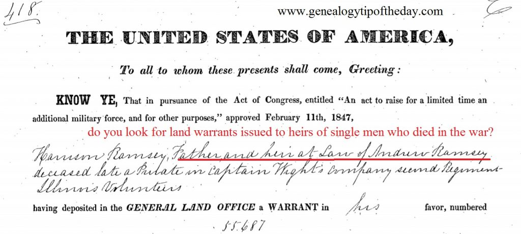 Land Warrants for Single Sons Who Died in pre-Civil War Wars
